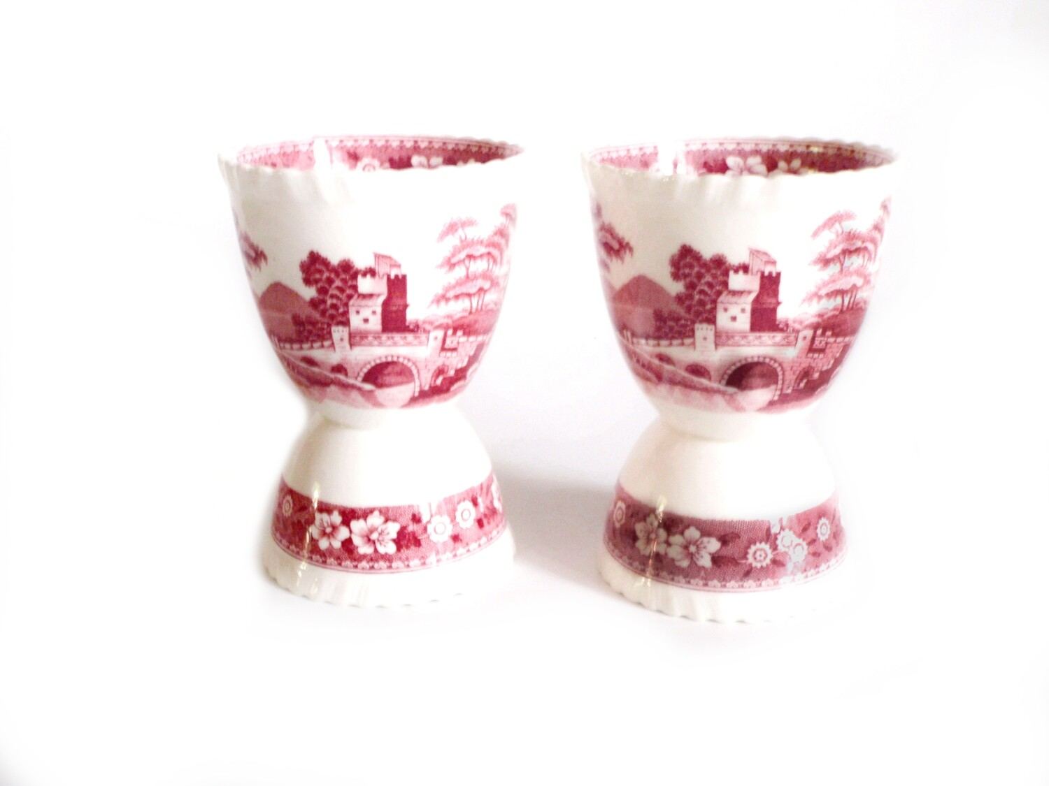 Spode Pink Tower 4  Double Egg Cups Copeland English Pink Transferware