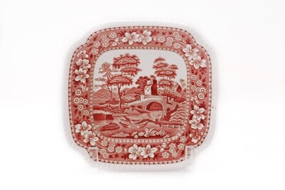 8 Spode Pink Tower 8 1/4 In Square Plates Gadroon Rimmed