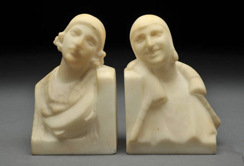 HOLD Do NOT Purchase 1920's Art Deco Carved Marble Women Bookends