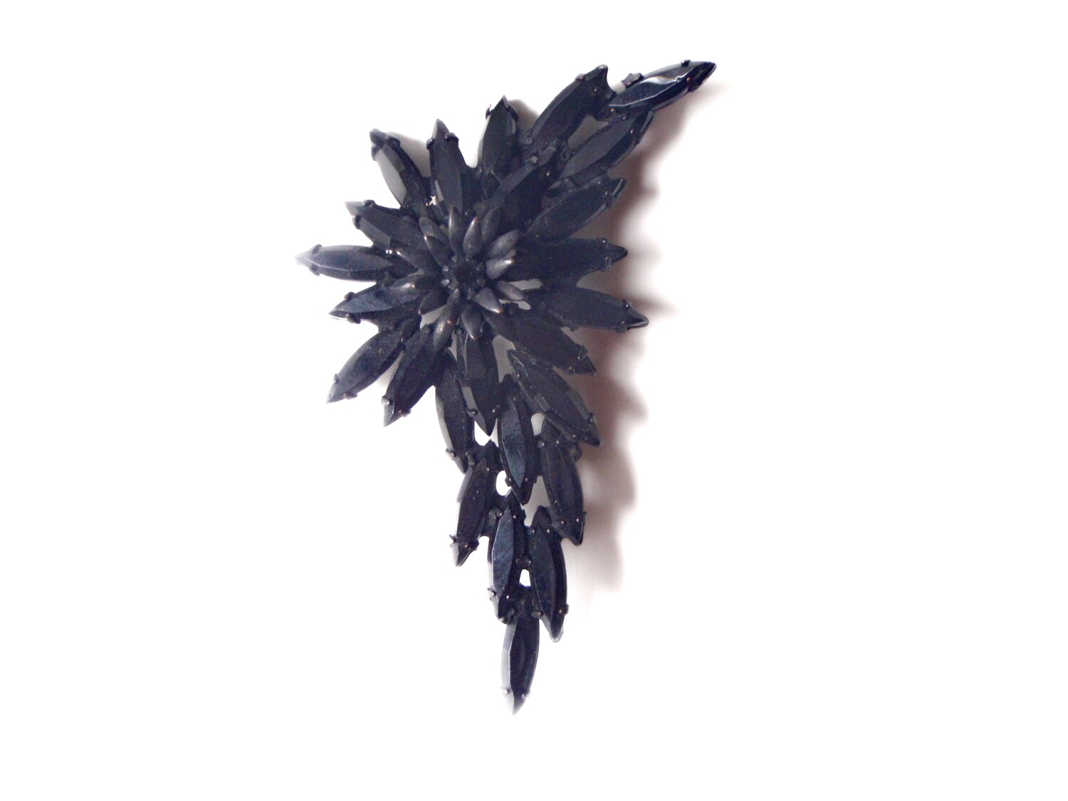 1950s Black Rhinestone Flower Brooch with Open Metalwork