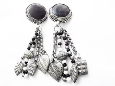 Vintage Obsidian Boho Hippie Clip On Earrings