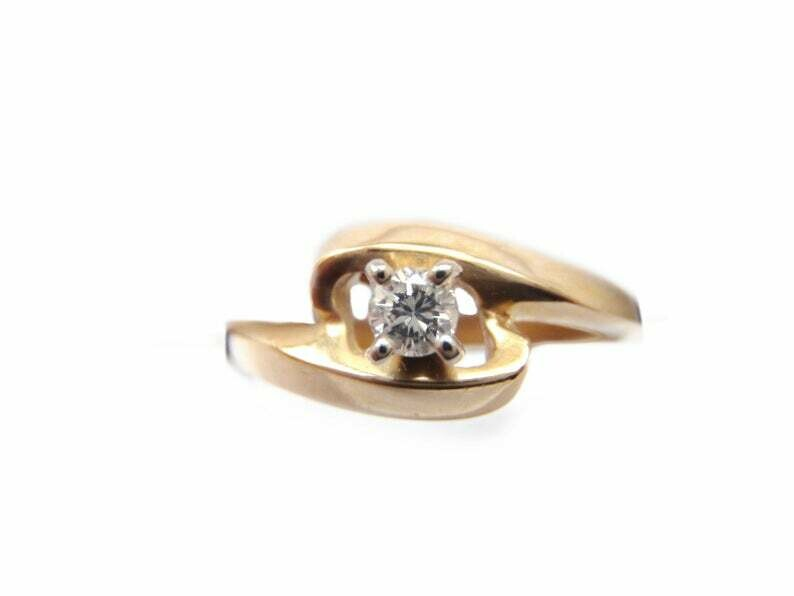 Vintage 14k Gold and Diamond Off Set Modern Design Ring