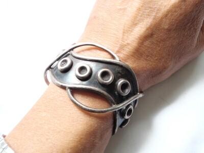 Mid Century Taxco Silver Modernist Cuff Bracelet Open Metalwork