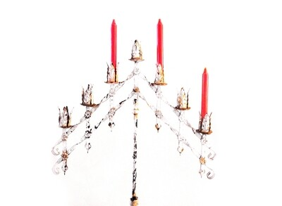 Antique Gothic Floor Church  Religious Candelabra Candle Holder