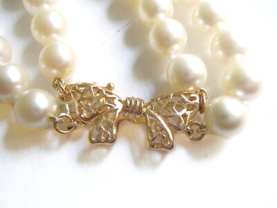 Double Strand Ivory Cream 6.5 - 7 mm Pearl Necklace 14k Bow Clasp