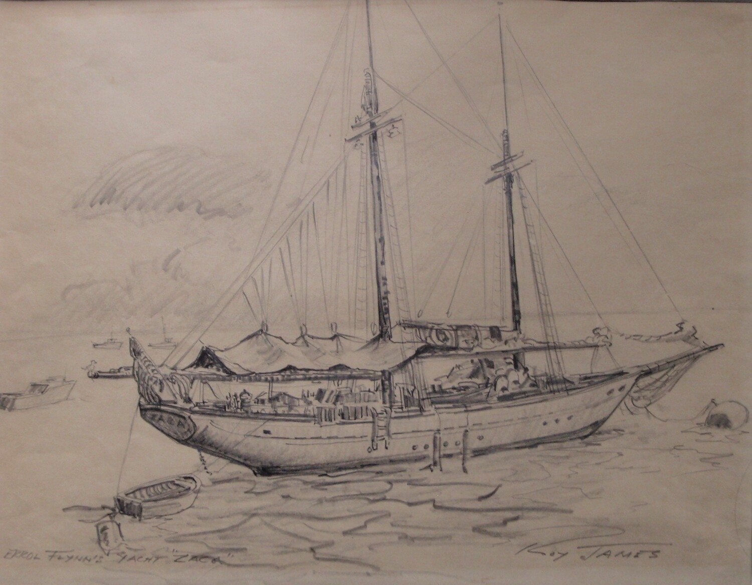 Errol Flynn Yacht Zaca Sketch by Roy James Vintage Sailboat Drawing
