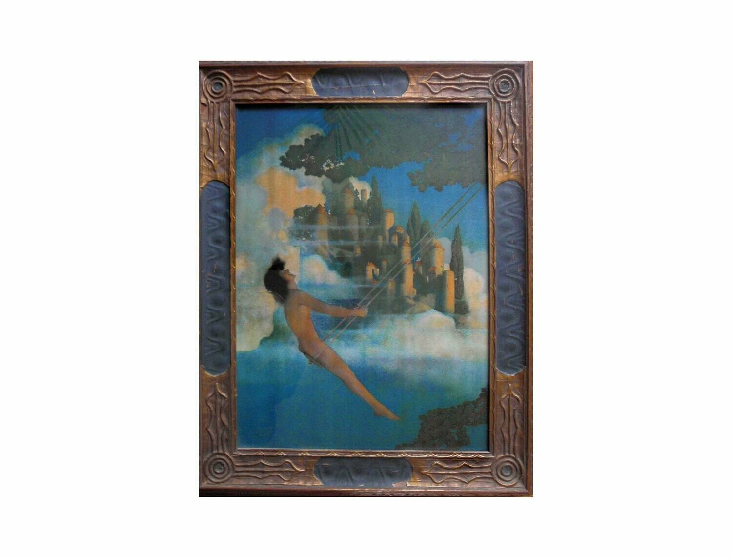 Maxfield Parrish Dinky Bird Collotype Art Deco Frame Fantasy Art