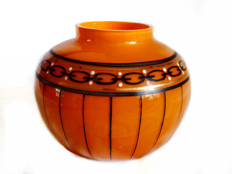 1920s Art Deco Czech Bohemian Orange Tango Glass Bowl Posy Vase