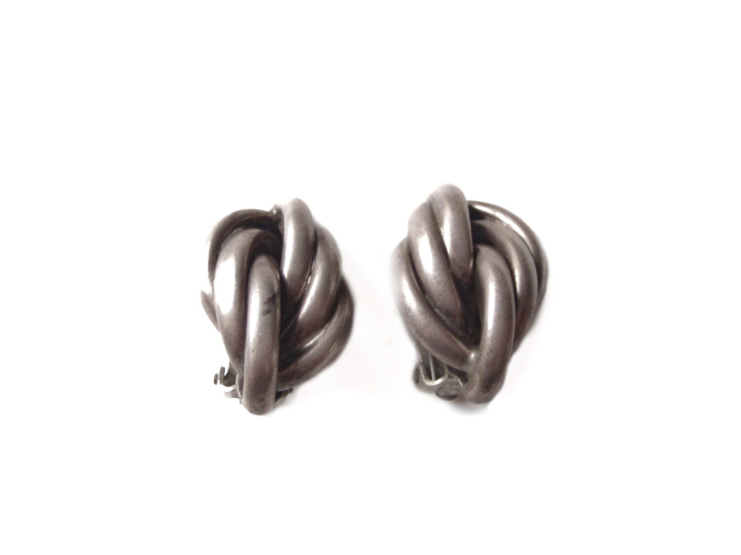 Jondell Taxco Mexico Silver Twisted Knots Clip On Earrings