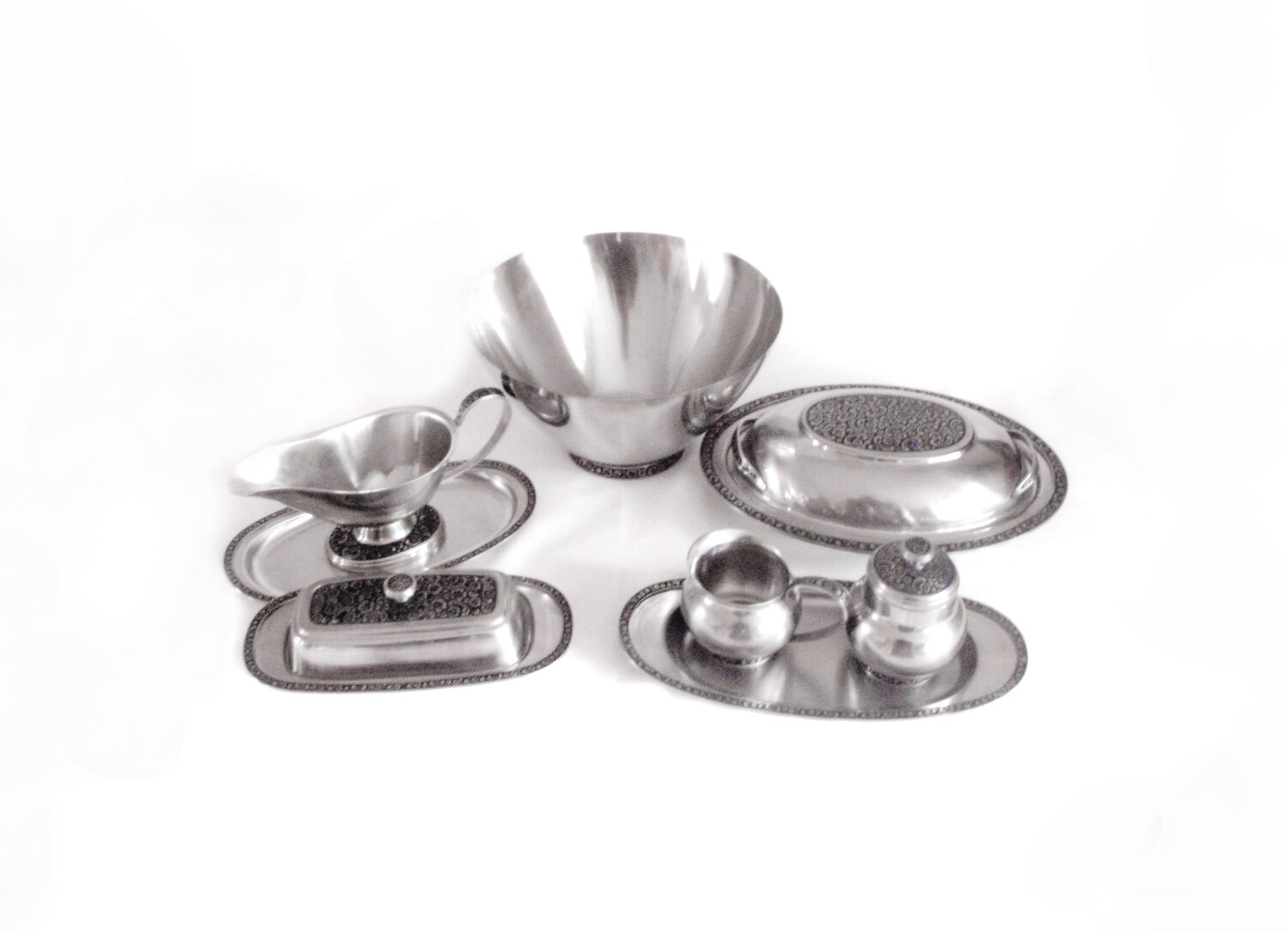 Mid Century Oneida Mediterranea Stainless Steel 9 pc Entertaining Set