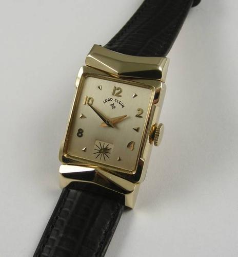 1940s Lord Elgin 14k Watch Rare Chevron Hooded Lugs