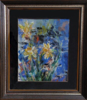 Original Bold Daffodil Garden Painting Framed Spring Flowers Constance Crossley