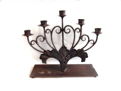 5 Arm Iron Art Nouveau Candelabra Church Candle Holder