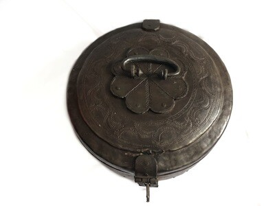 Large Antique Forged Storage Box with Lock Eastern Metal Decorative Container
