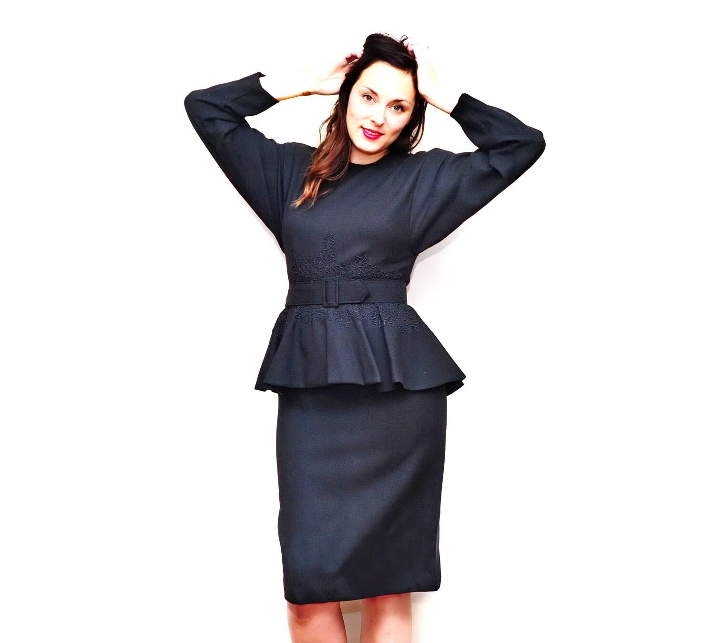 Vintage Little Black Designer Pure Wool Dress Evening Wear