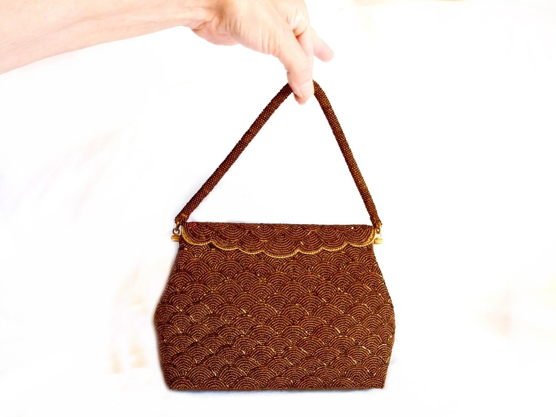 Vintage Copper Micro Beaded Handbag Purse