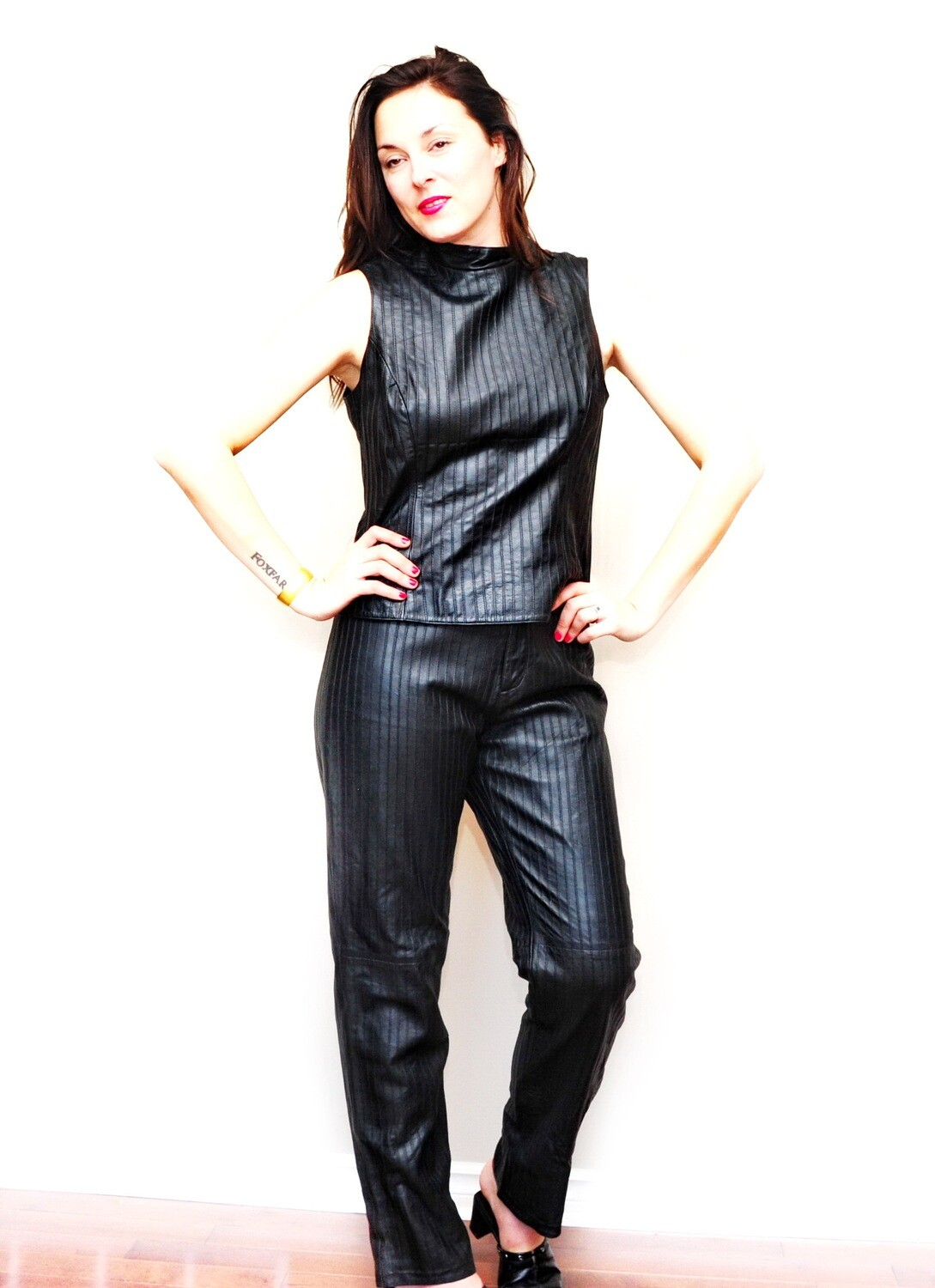 Vintage Sexy Black Leather Pin Stripe Pant Suit
