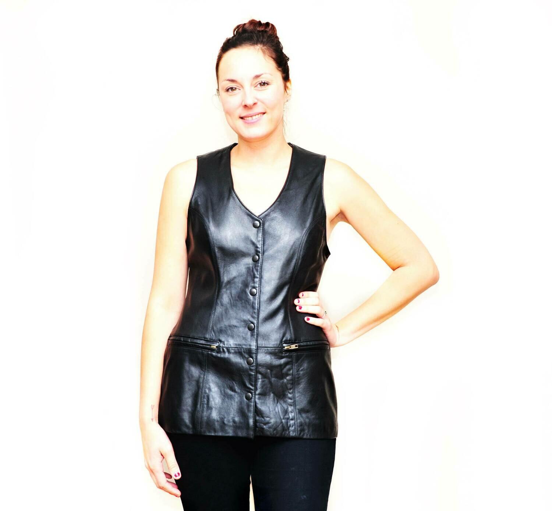 Designer Sexy Long Black Leather Sleeves Ladies Vest