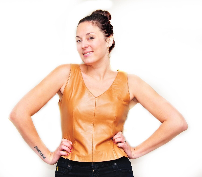 Designer Sleeveless Fine Tan Leather Ladies Vest