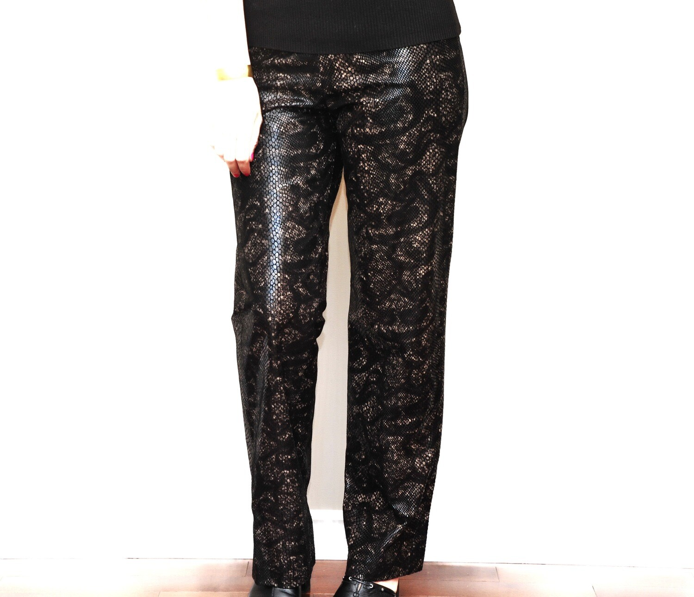 Danier Snake Skin Dark Brown Leather Womens Pants