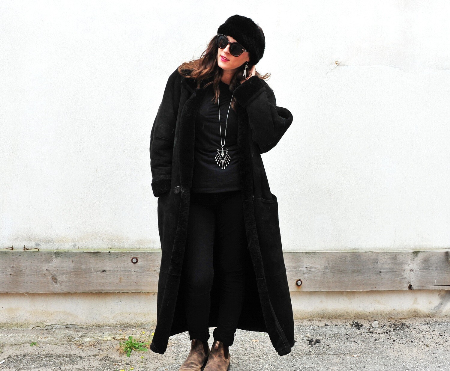 Vintage Black Lambskin and Suede Full Length Winter Coat
