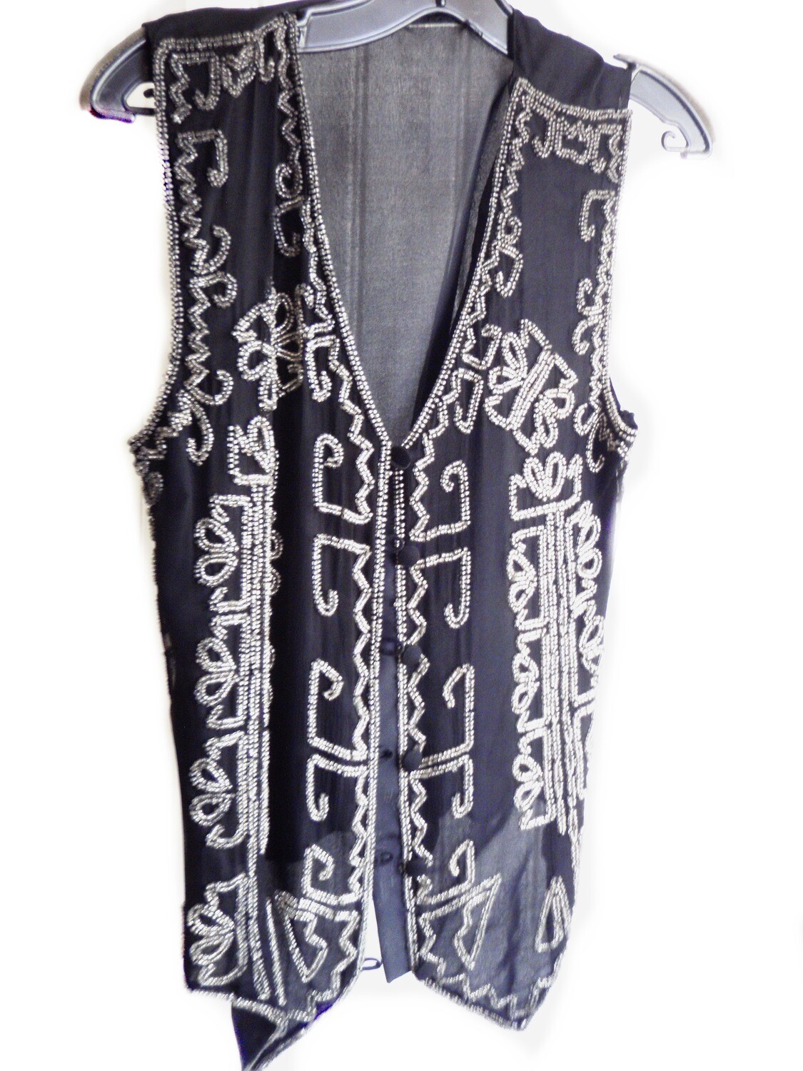Vintage Boho Silk and Glass Beaded Vest Evening Wear Dress Vest Size S