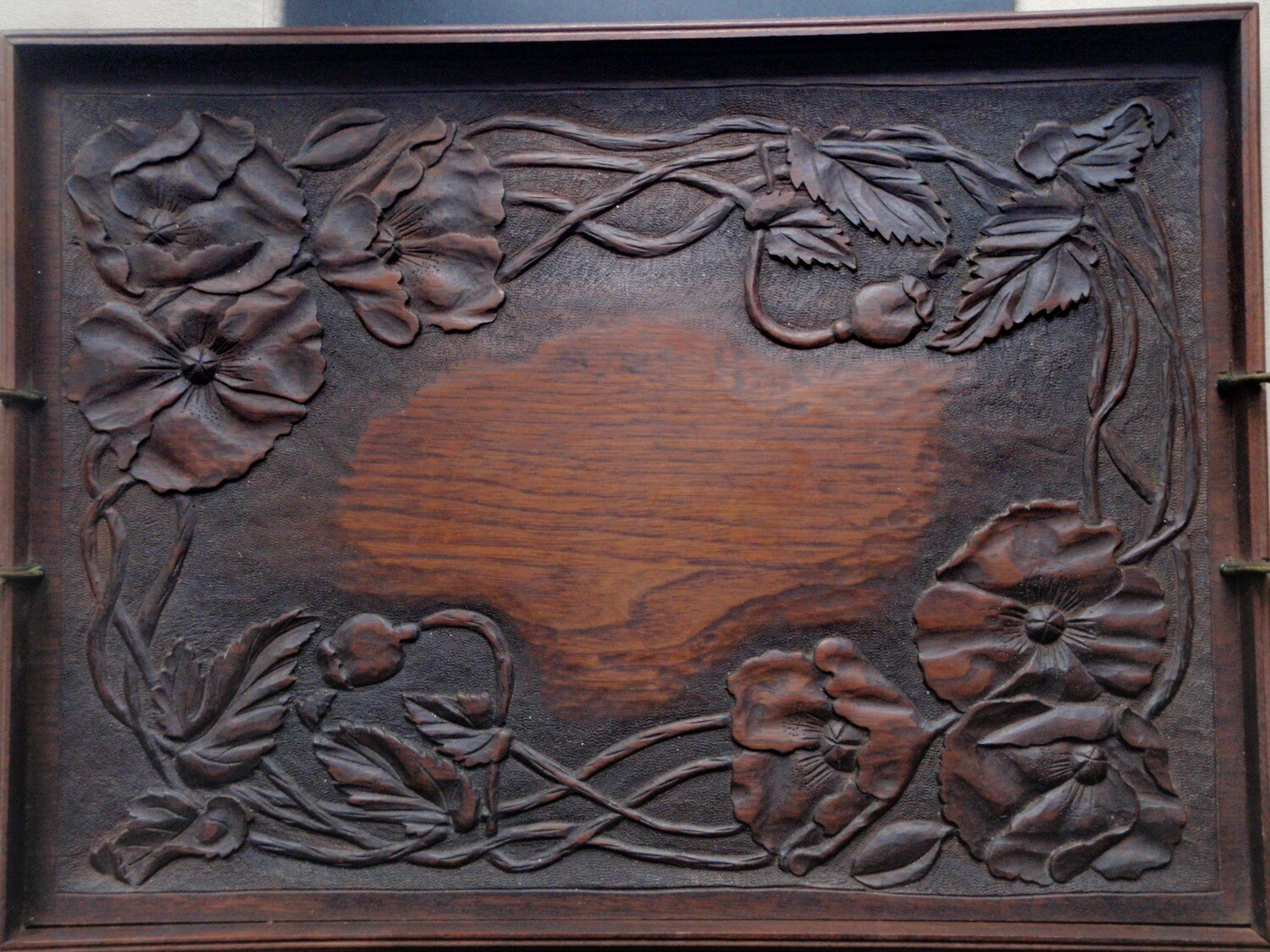 Mission Arts and Crafts Hand Carved Poppy Tray
