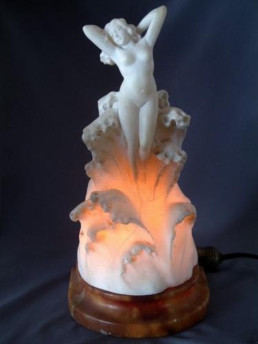 Art Deco Nude Venus Rising from the Sea Alabaster Lamp