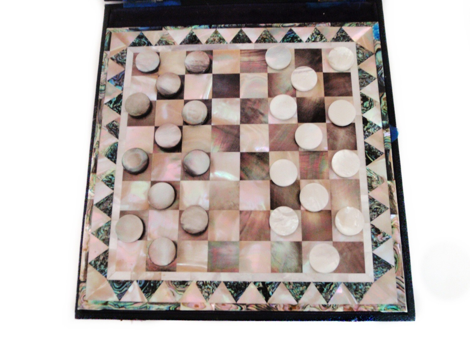 Art Deco Mother of Pearl Boxed Checkers Game Board