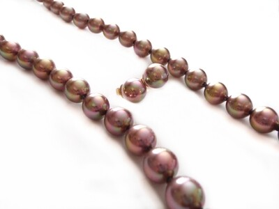 Vintage Bronze Florescent Mallorca Pearl Necklace Earrings