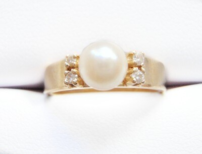 Pearl and Diamond 14k Ring Cultured Pearl 4 Diamonds