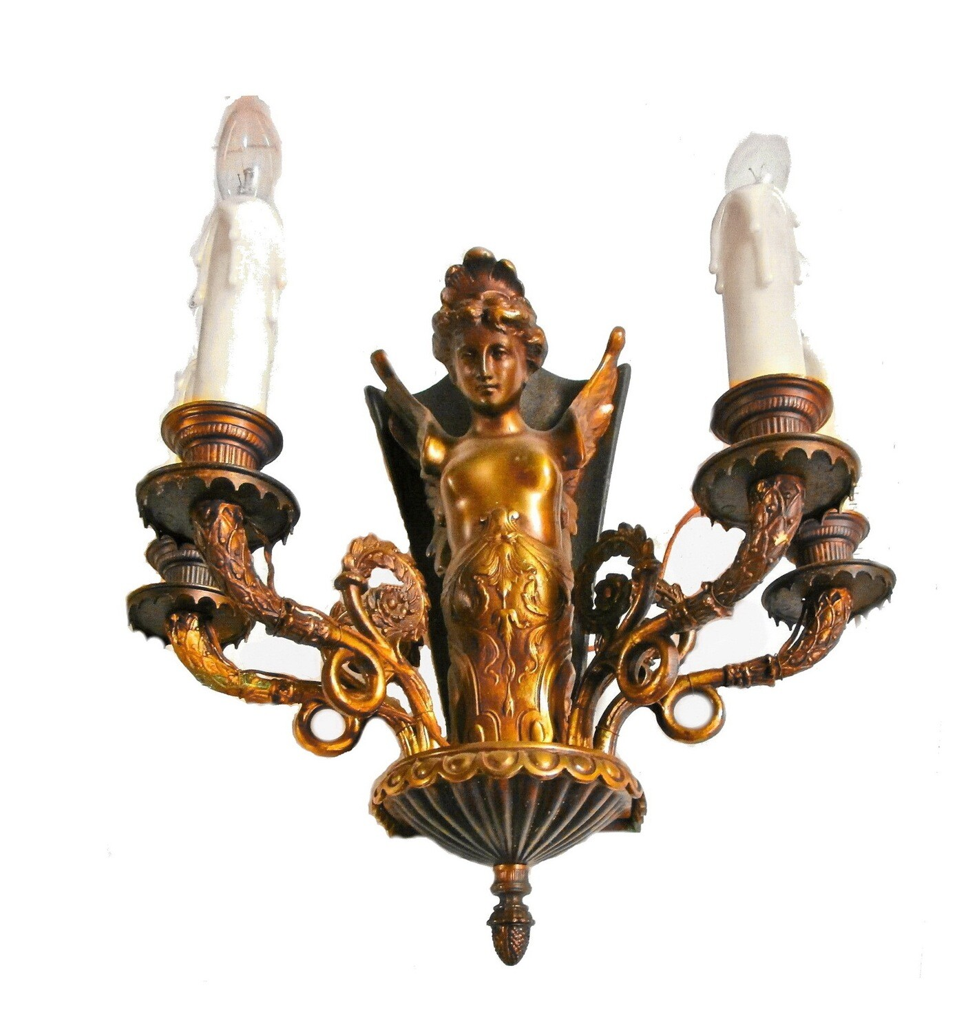 2 Antique Art Nouveau 4 Arm Winged Siren Wall Sconces