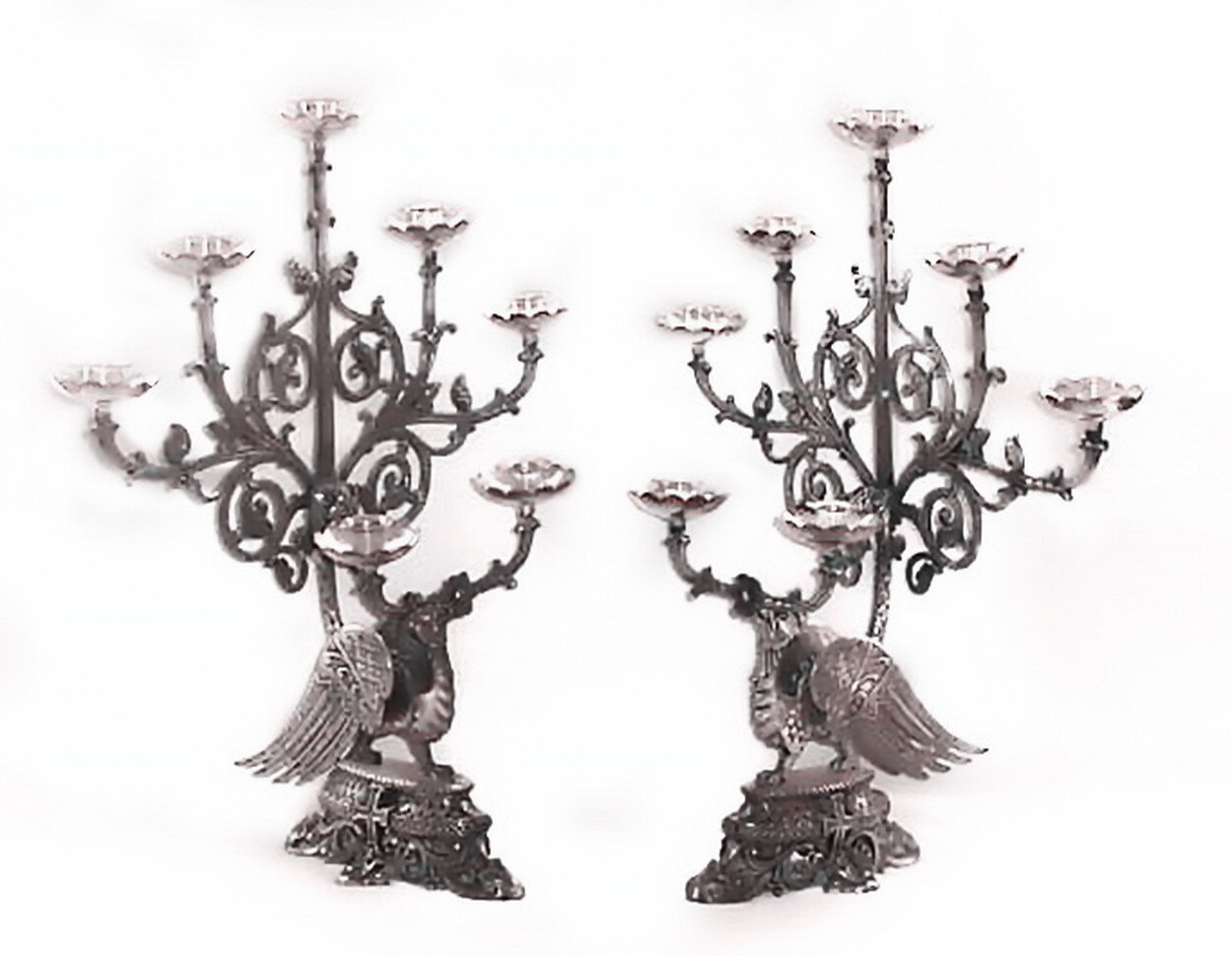 Pair 19th Century Phoenix Church Silver Candlesticks Candelabras