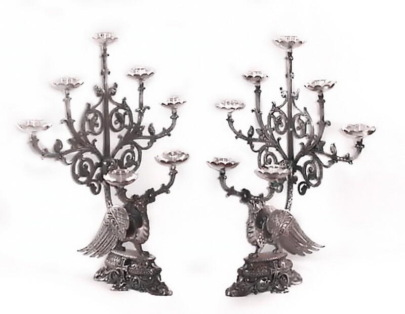 Pair 19th Century Phoenix Church Silver Candlesticks Candelabras