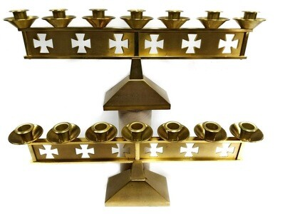 2 French Brass Church Candelabra with 7 Candle Holders Each