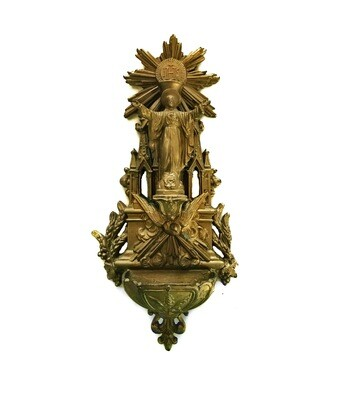 French Antique Church Holy Water Font 10 Inch Gothic