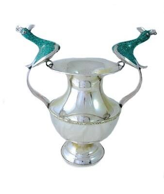 Vintage Inlaid Turquoise Bird Silver Vase
