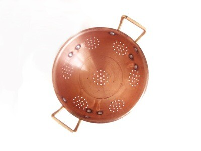 Vintage Solid Copper Brass Footed Strainer Berry Bowl