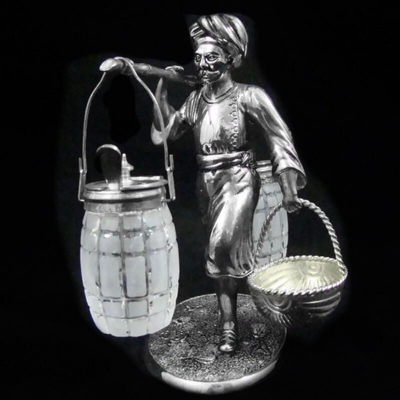 Antique Asian Figural Silver and Glass Cruet Set