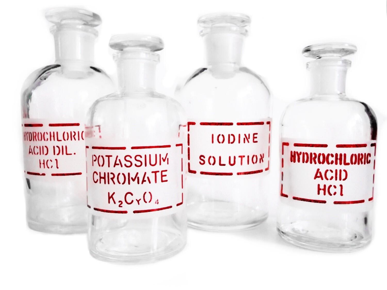 5 Antique Pyrex Apothecary Pharmaceutical Glass Bottles