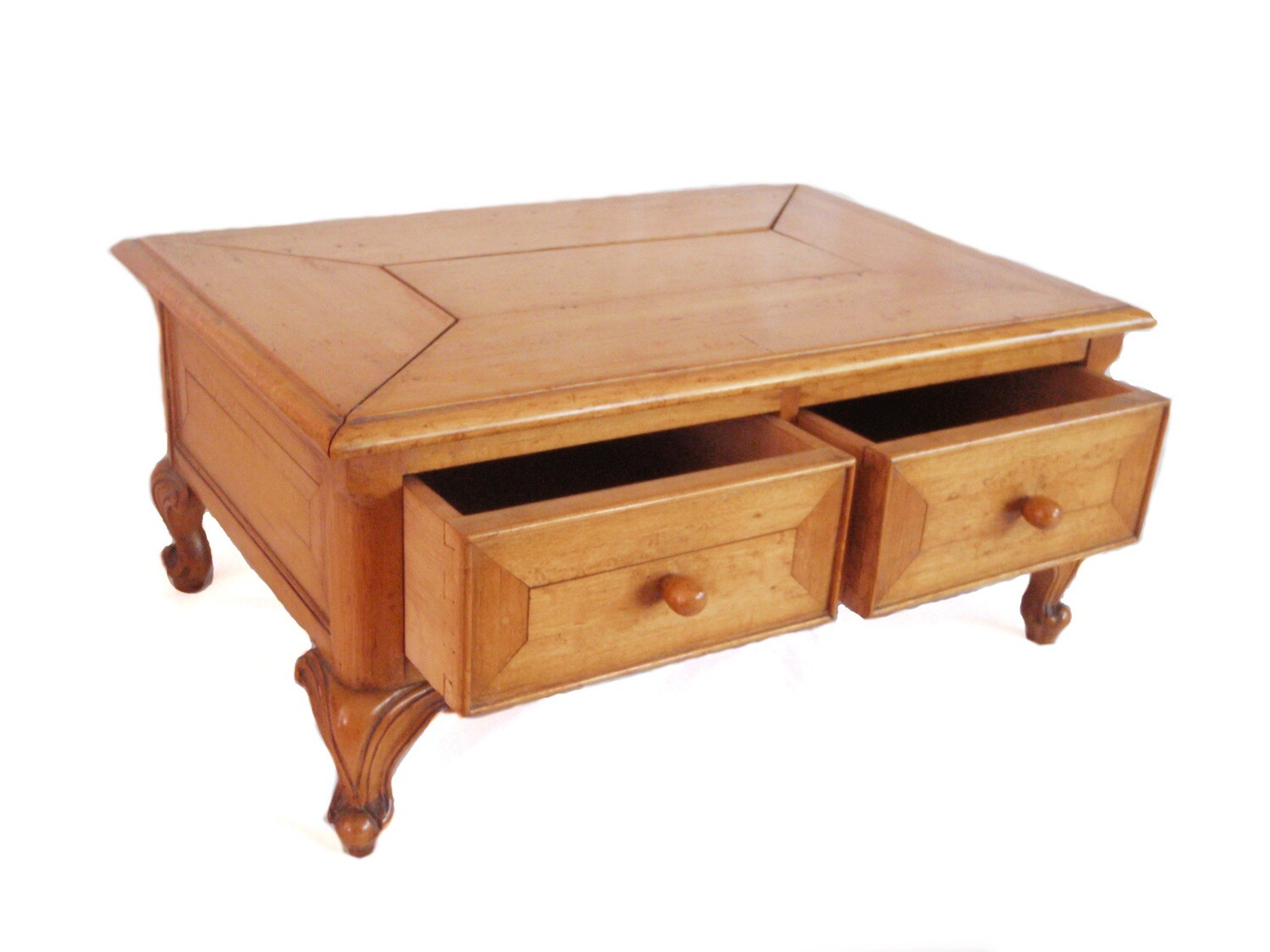 Large Antique Maple Jewelry Watch Box with Cabriole Legs