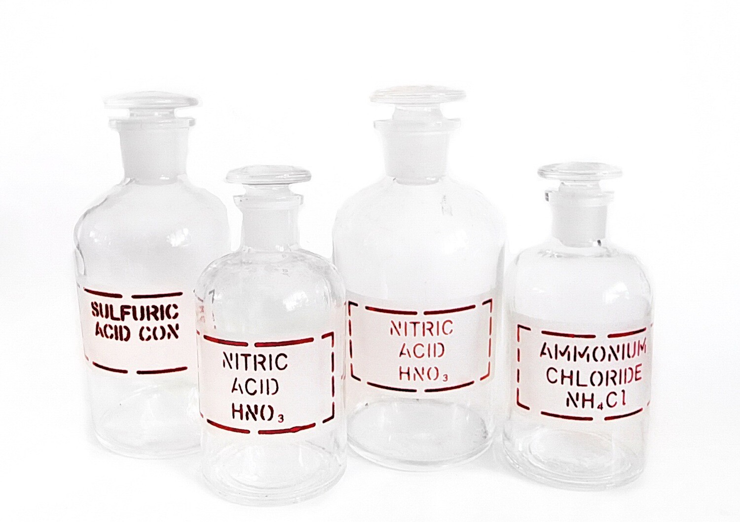 4 Pyrex Antique Apothecary Pharmaceutical Glass Bottles with Boxes