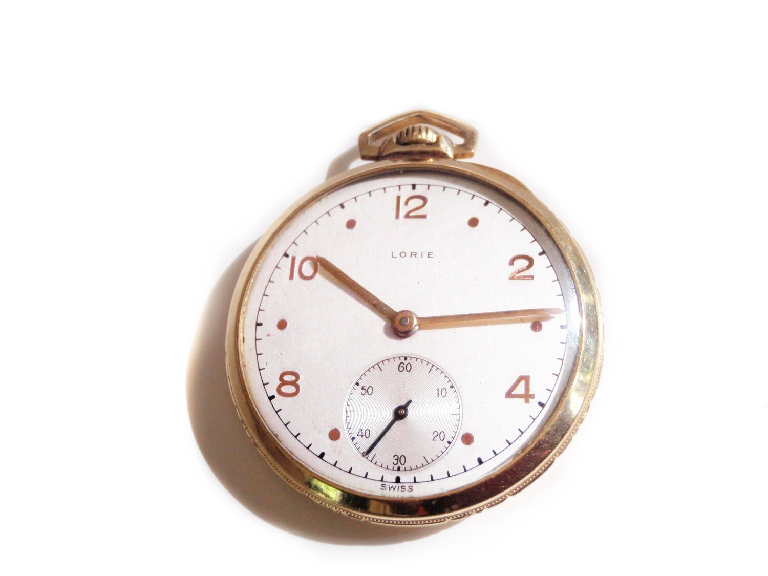 Vintage Lorie Unisex Pocket Watch Silver Dial Brass Case
