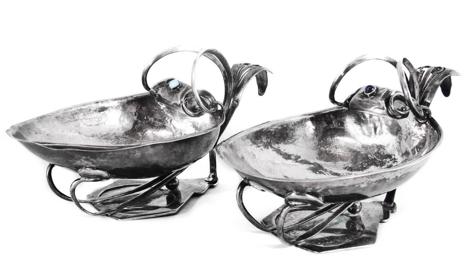 2 Large Antique Hammered Silver Bowls with Amethyst Moonstone