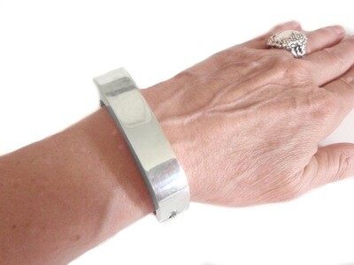 Vintage Taxco Mexican Silver Square Hinged Bracelet