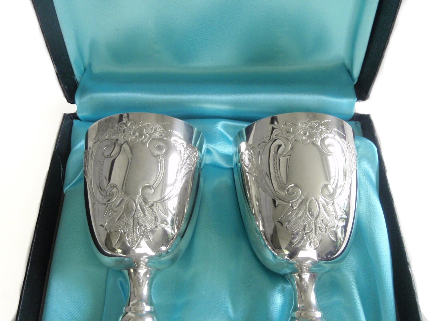 Burke and Wallace Silver Wedding Toasting Wine Goblets