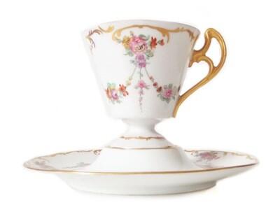 Pair Antique Gilt Floral Swag Porcelain Teacup and Saucers