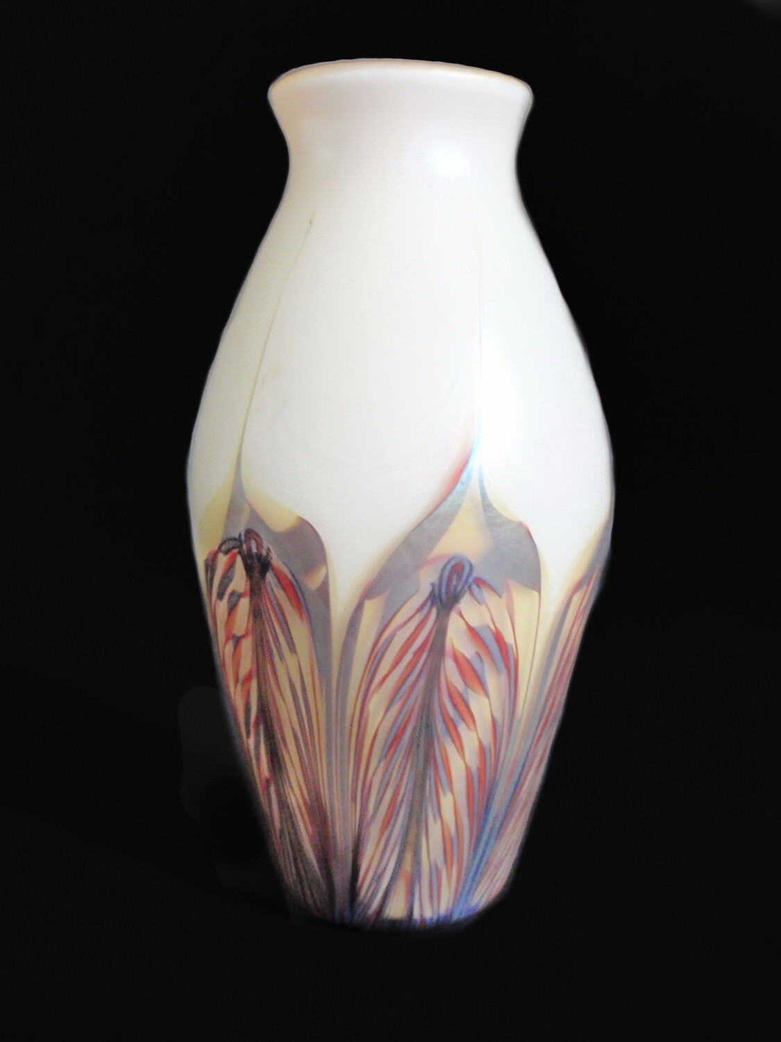 Phoenix Art Glass Aurene Pulled Feather Vase
