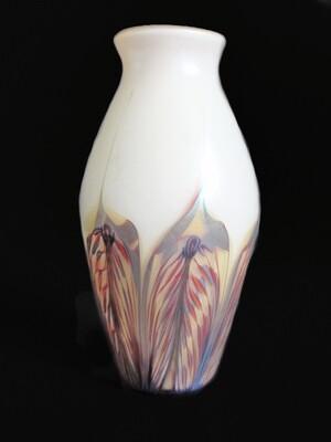 Phoenix Art Glass Aurene Pulled Feather Vase