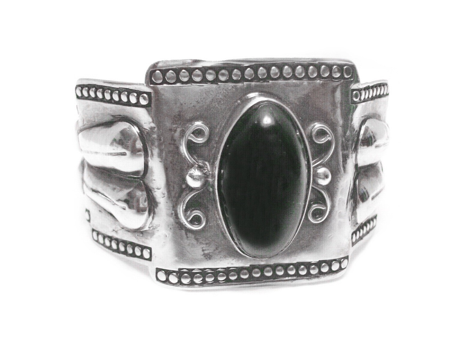 Vintage Taxco 980 Silver and Onyx Cuff Bracelet
